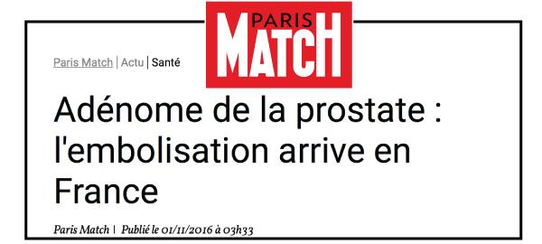 Lire l'article Paris Match sur l'embolisation de l'artère prostatique